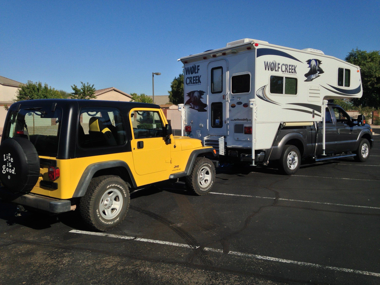 Flat Towing A Tj Jeep Wrangler Truck Camper Adventure Auto