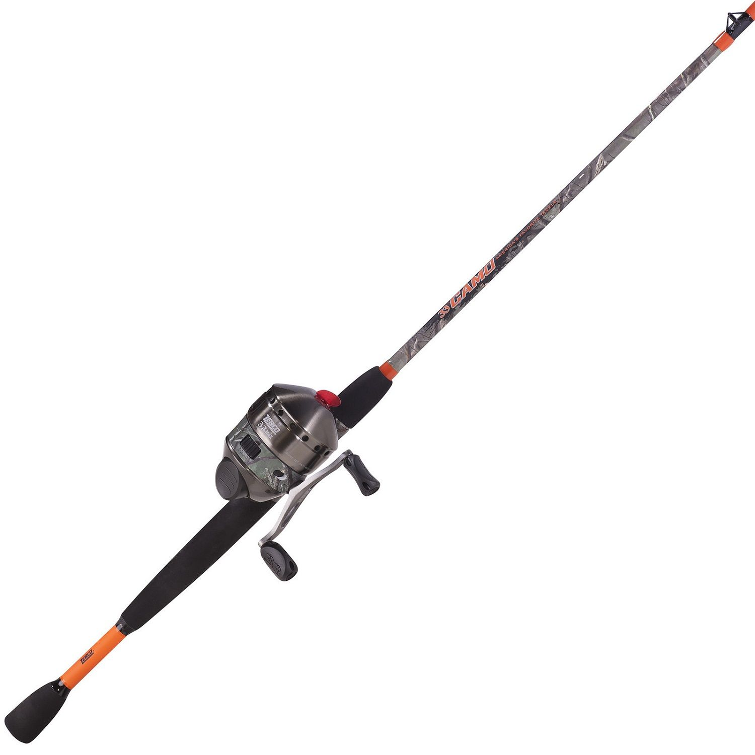 Zebco 33max Camo 6ft 6in 2 Pc Mh Spincast Combo Orange Rod And Reel Best Fishing Rods Fishing Products