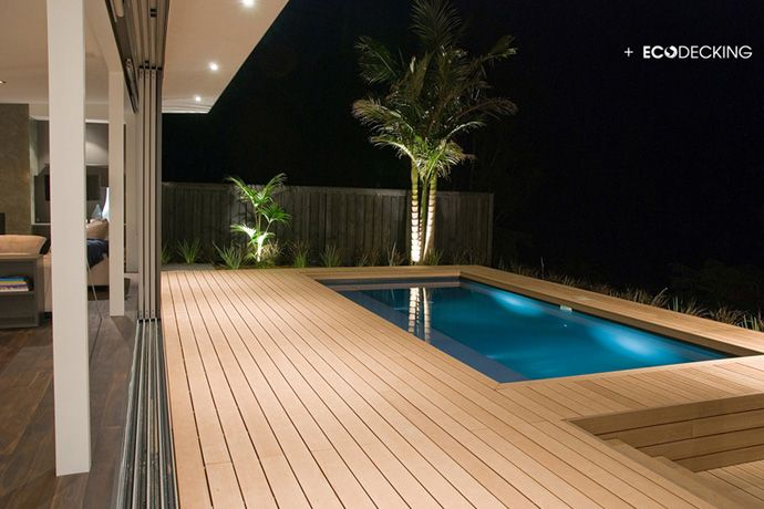 Stunning Show Home Conversation Pit And Pool Are Deck Decks Around Pools Building A Deck Swimming Pools