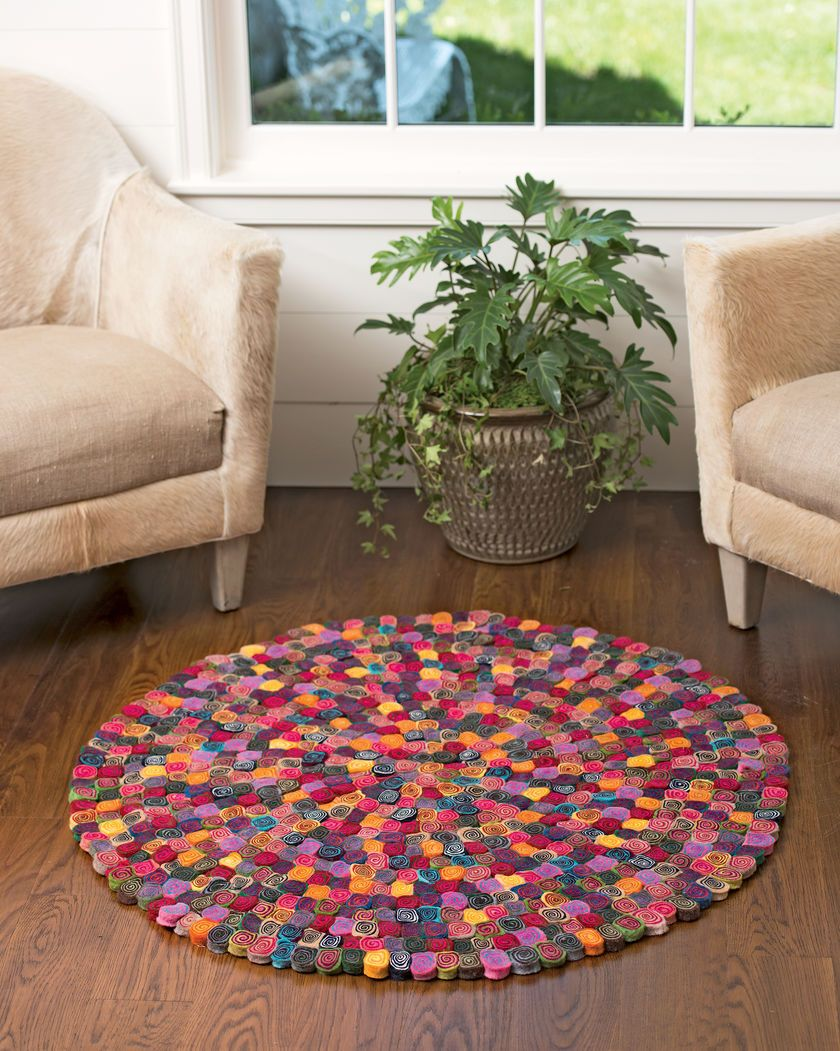 Millefleur Felted Wool Rug Colorful Handcrafted