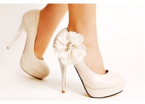 Ivory wedding shoes, Pink high heel shoes