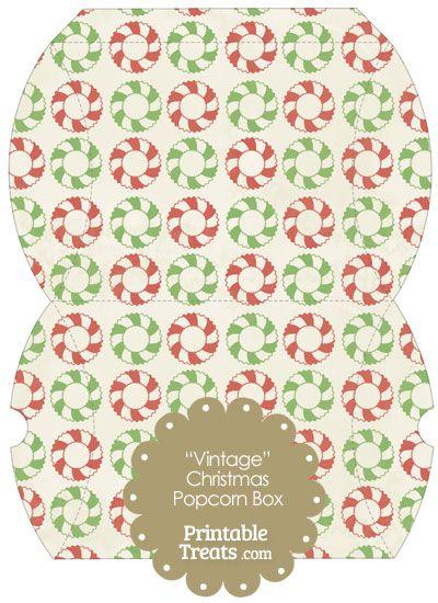 Vintage Large Christmas Wreath Pillow Box from PrintableTreats.com ...