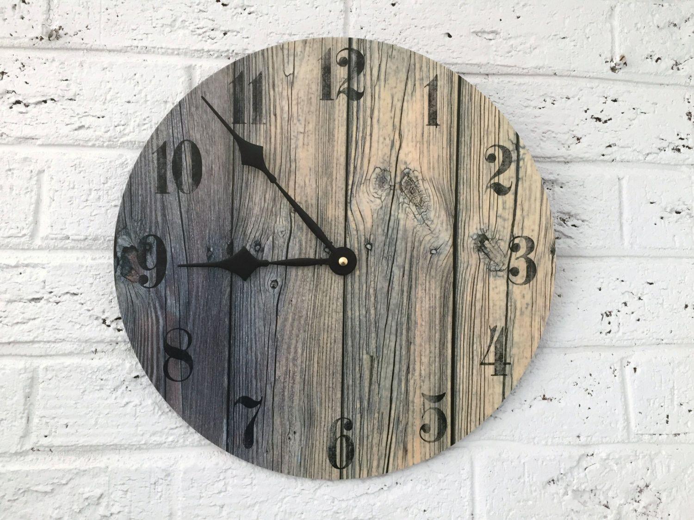 Rustic Wall Clock - Weathered Wood Print