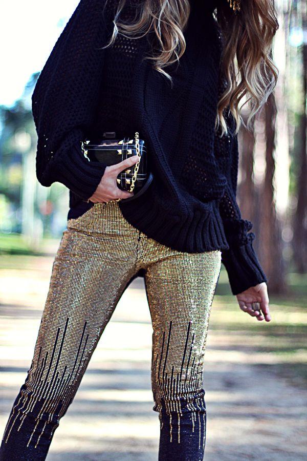 Calça Skinny Jeans com brilho + Tricot