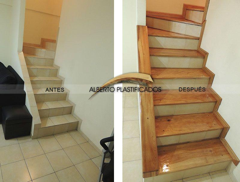 Revestimiento de escalera con anchico colocaci n de z calos y pasamano pulido y plastificado - Revestimiento para escaleras ...