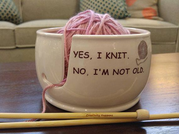 Ceramic Yarn Bowl Yes I knit No I am not old by CreativityHappens
