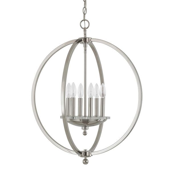 Capital Lighting Perry Collection 6 Light Polished Nickel Pendant $300