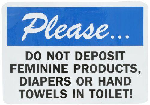 "Just Bathroom Signs smartsign adhesive vinyl label, legend ""do not deposit feminine"