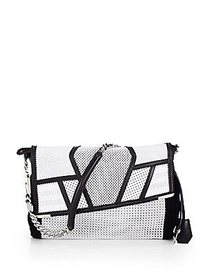 Jimmy Choo Ally Mixed-Media Perforated Patchwork Shoulder Bag