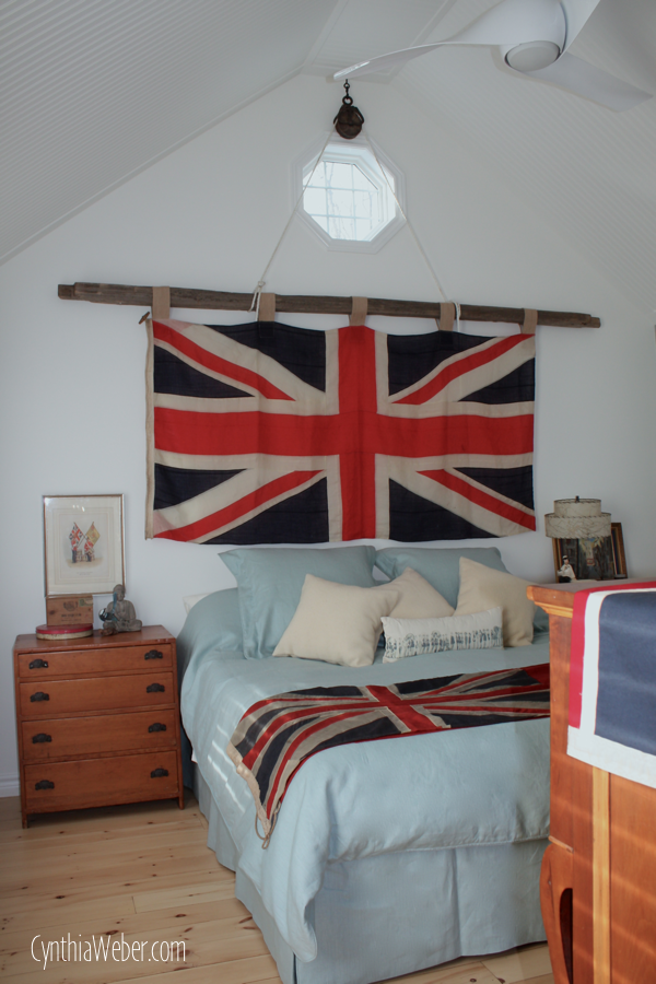 can you do interior design without a degree union jack bedroom design decoration Rustic Bedroom Ideasu2026 Union Jack Flag hung by an antique pulley on a cedar  railu2026 CynthiaWeber.com