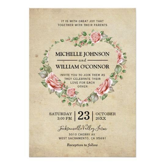Watercolor Heart Rustic Floral Vintage Wedding Card Vintage