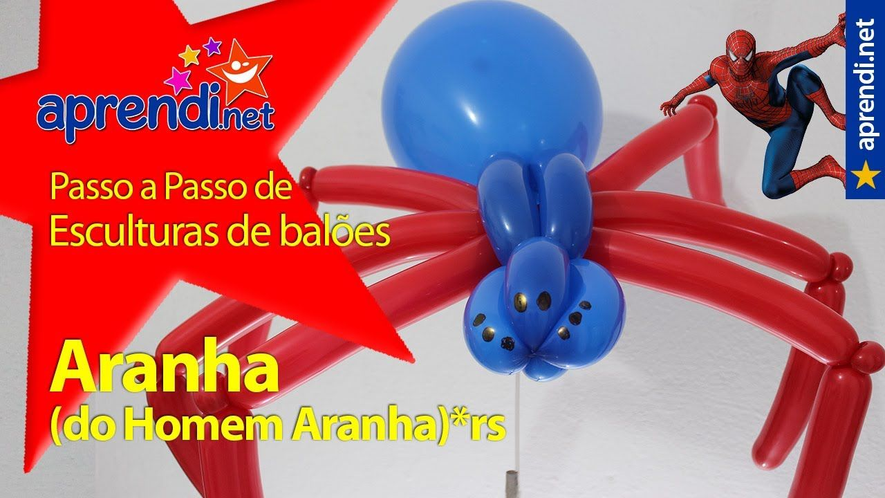 Como fazer uma aranha com balões - Homem Aranha