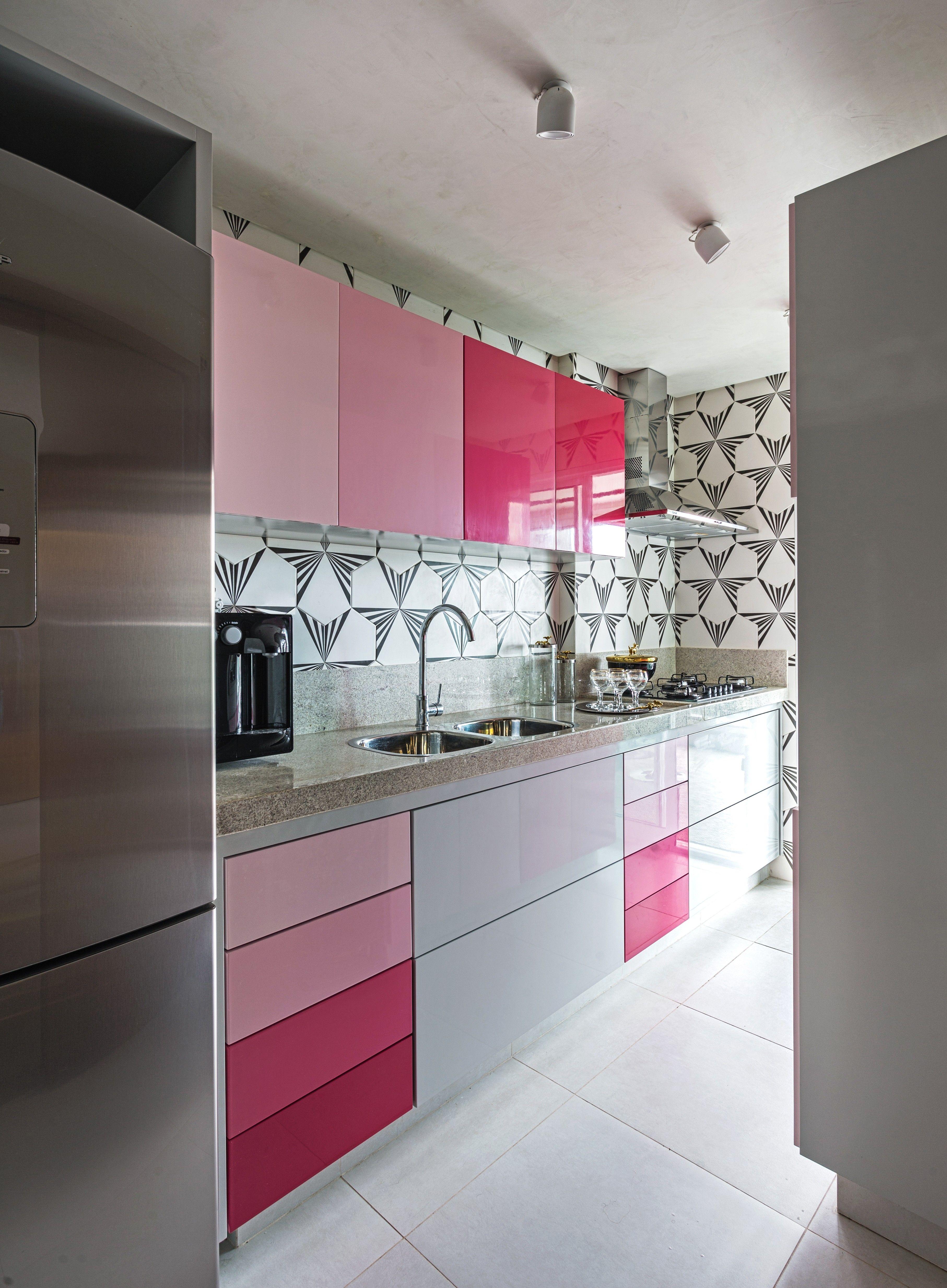 Degrade Rosa Na Cozinha E Destaque No Apartamento Com Imagens