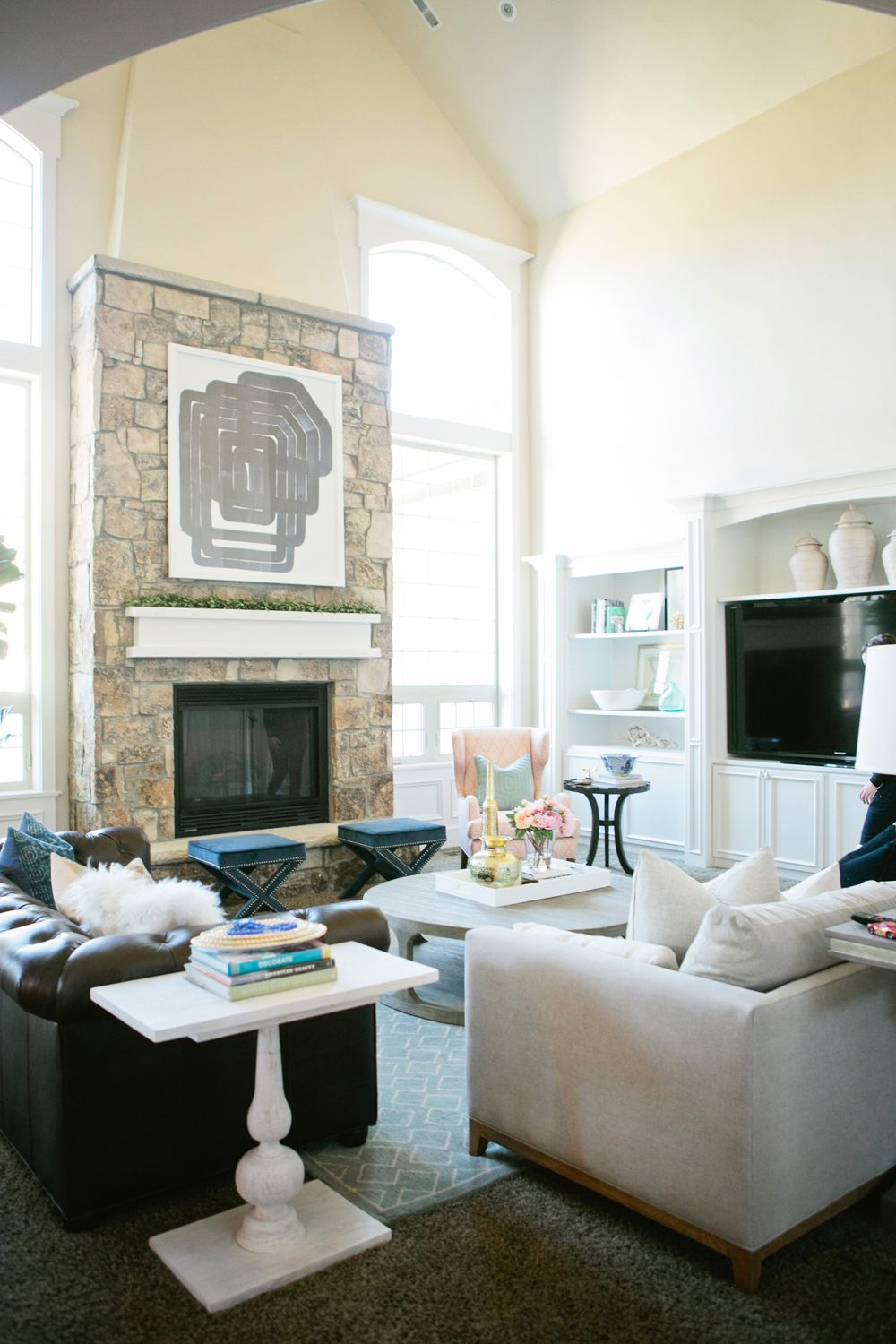 Large stone fireplace in living room design | House of Jade | LIVING ...