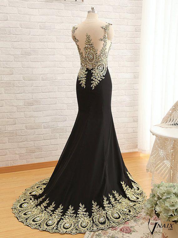 New Long Chiffon Mermaid Crystal Gold Lace Prom Dress Applique ... e4fee70534d5