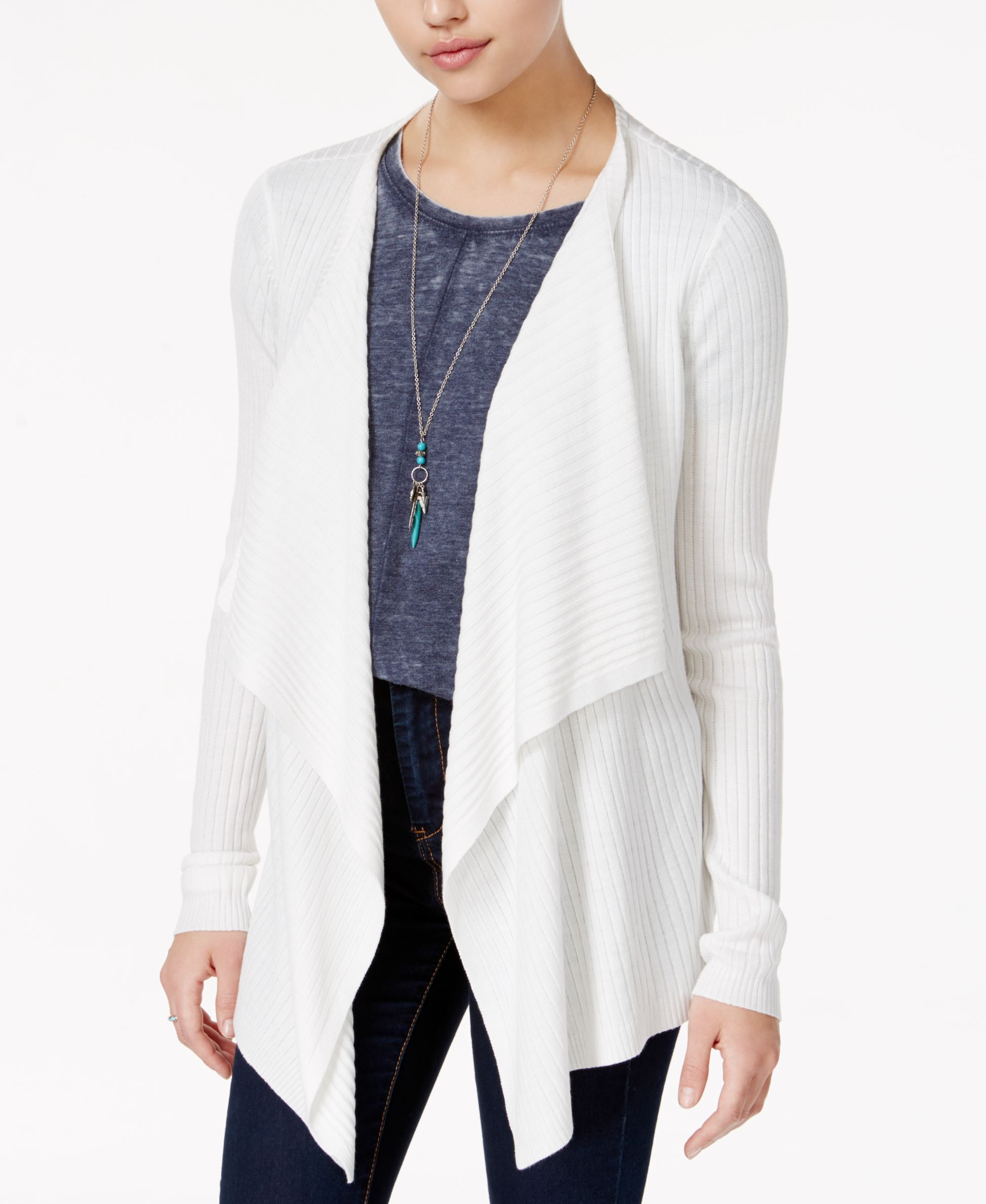Freshman Juniors' Cloud Chaser Rib-Knit Waterfall Cardigan ...