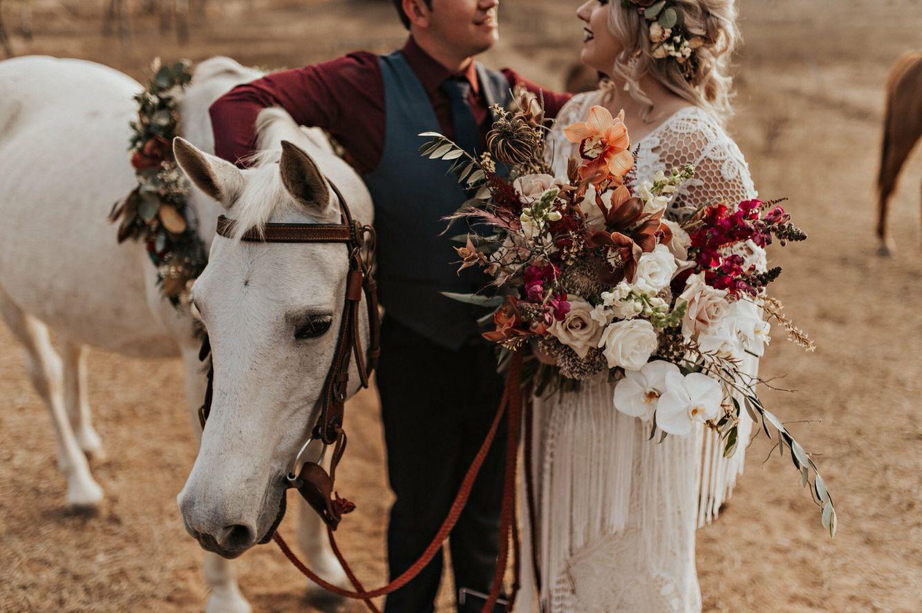Unicorn!! #Flowers #Boho #Burgundy #BigBouquet #Florals #BlossomShoppe #VickiMillerPhotography #Orchids #DriedBouquet #FreshBouquet #BushWedding #CountryWedding #RueDeSeine #BlossomGown #Horse #WhiteHorse #Wedding #PinterestWedding #AustralianWedding #DIYWedding #Blossoms #Crochet #Fringe #Tassels #FlowerCrown #pinterestwedding
