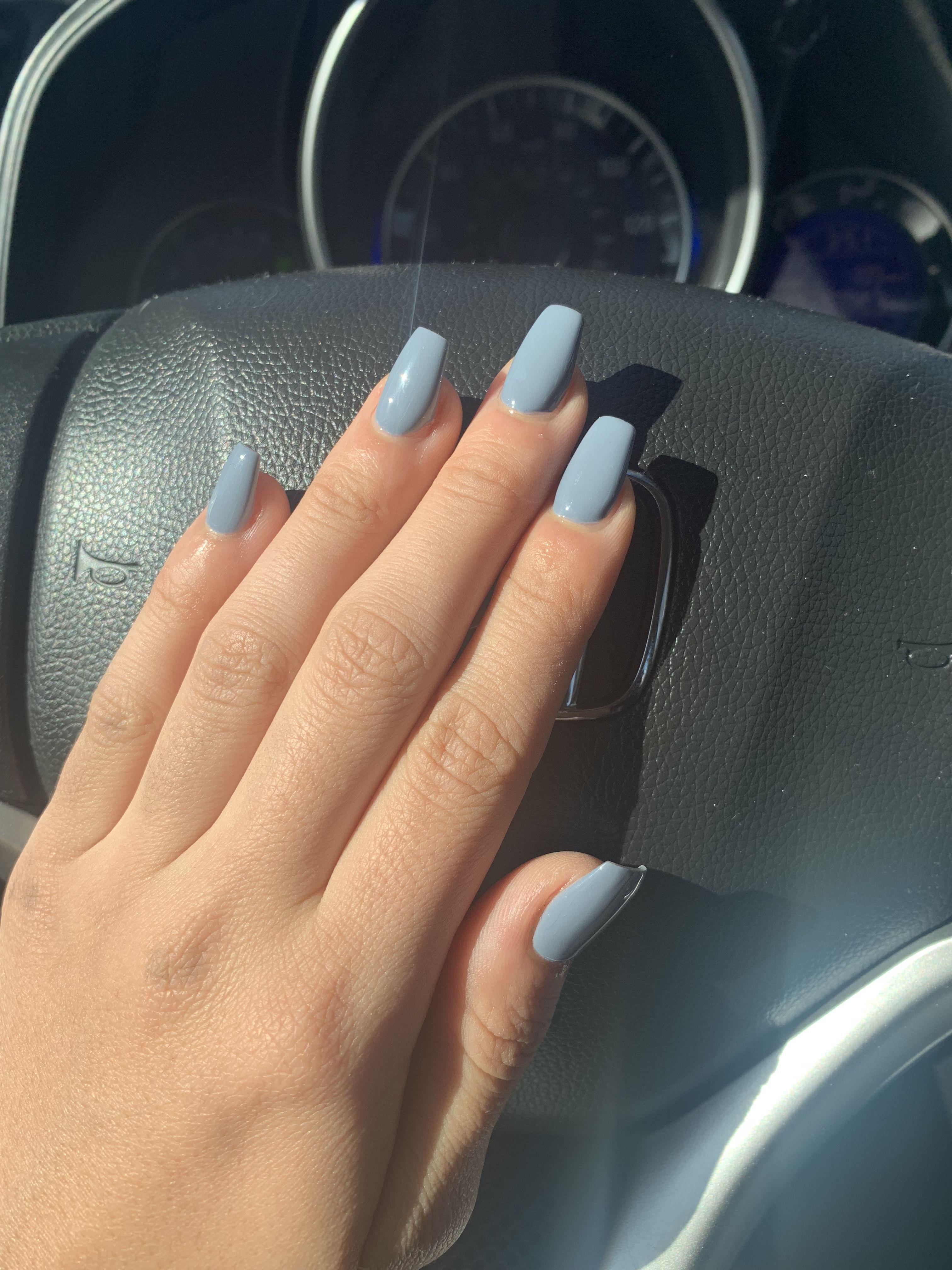 Short And Natural Coffin Nails Light Blue Grey Color Acrylic Nails Light Blue Blue Acrylic Nails Short Coffin Nails