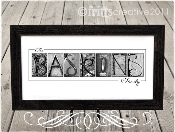 Alphabet Photography Custom Letter Art - Your Last Name in B&W Photo ...