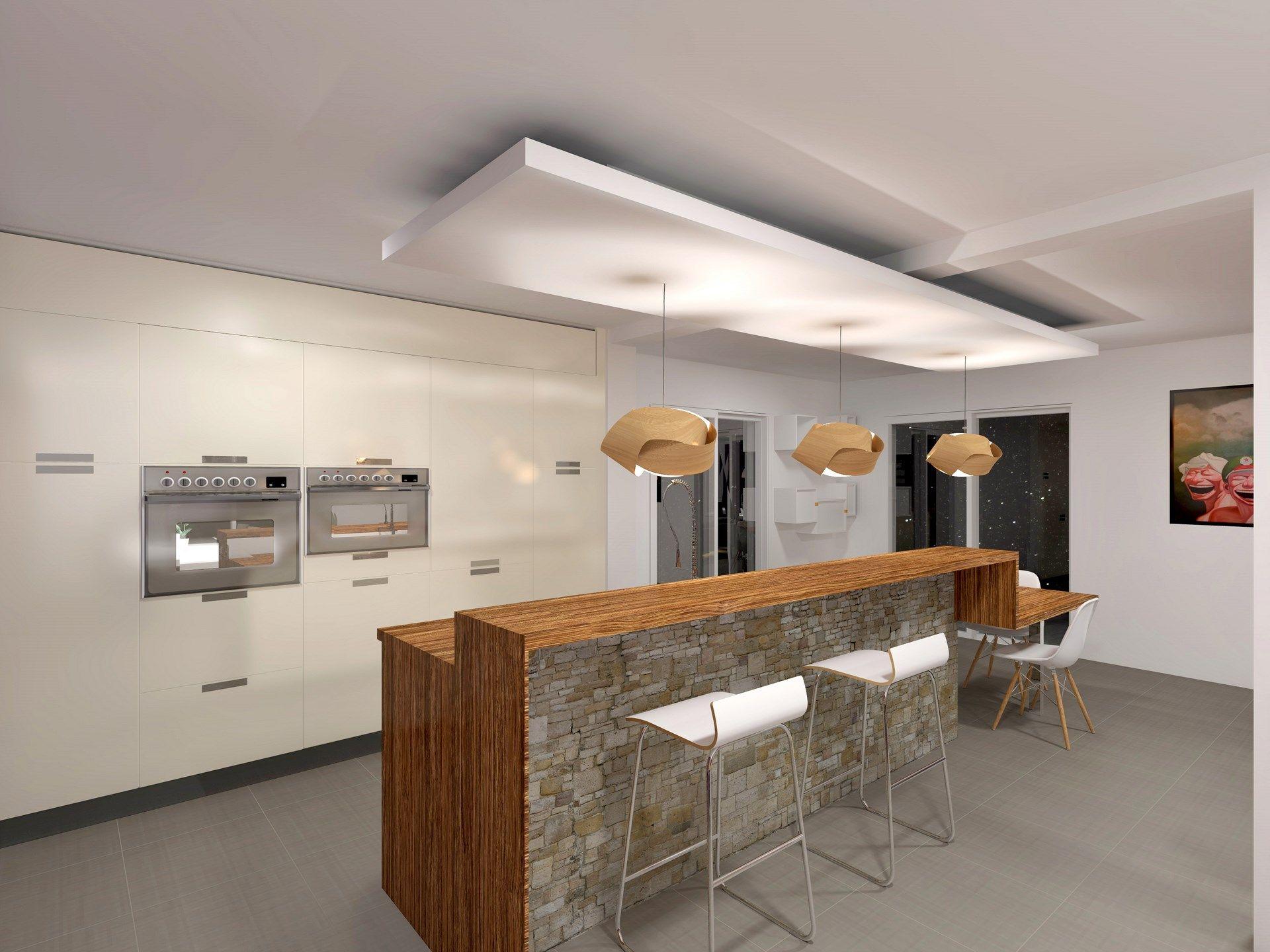 comptoir bois et pierre  Plafond cuisine, Faux plafond cuisine