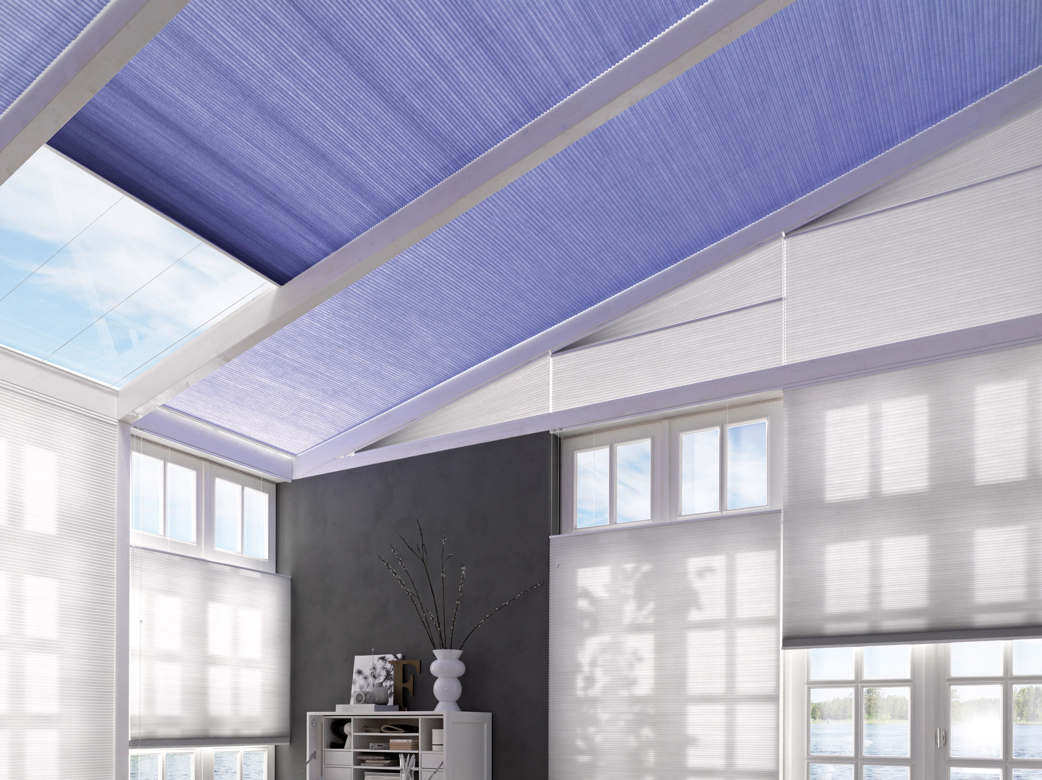 Lilac Tones For Glass Roofs Purple Blue Duette Conservatory Blinds Energy Saving Blinds Contemporary Blue Purpl Modern Window Dressing Blinds Glass Roof