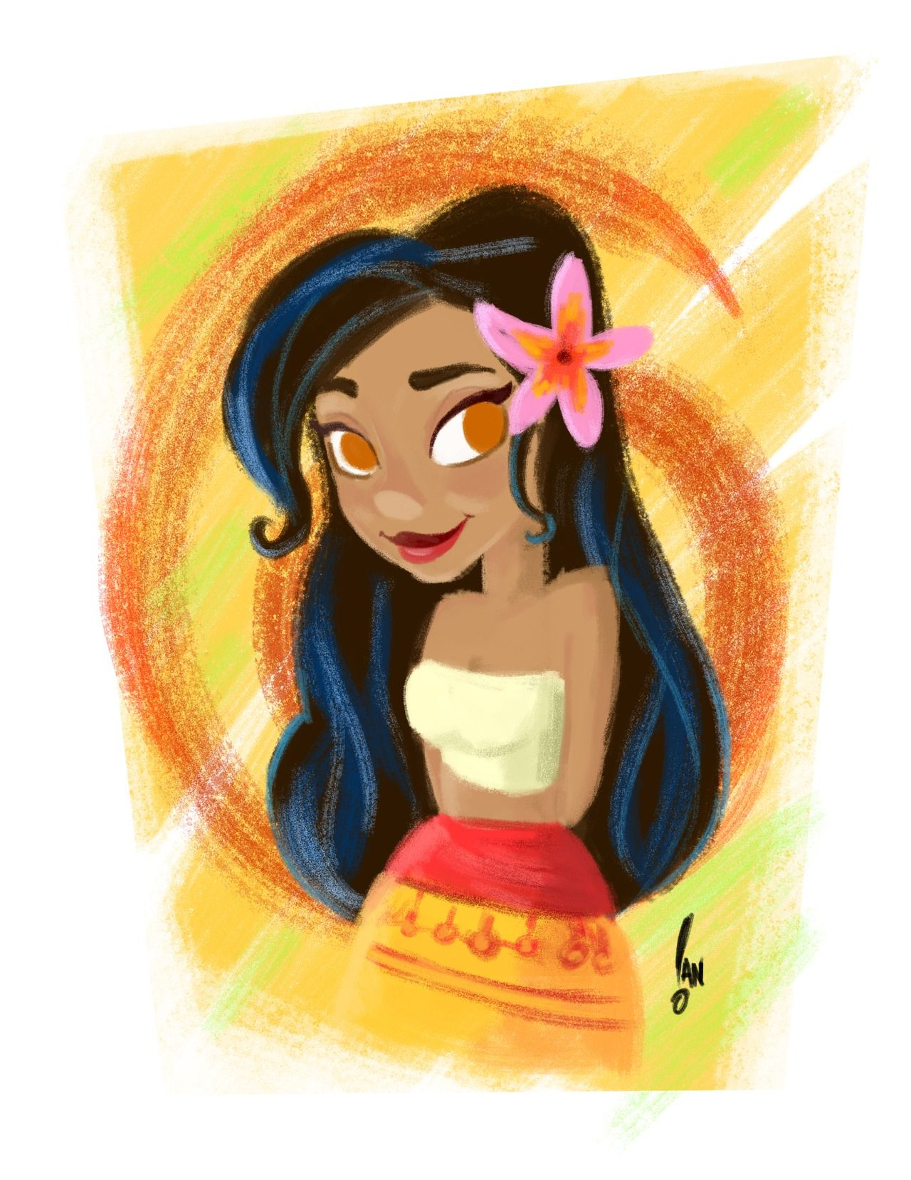 sketchian:  Moana (cartoon) My new obsession is not even real yet….  #moana #disney #sketch #gouache #wacom