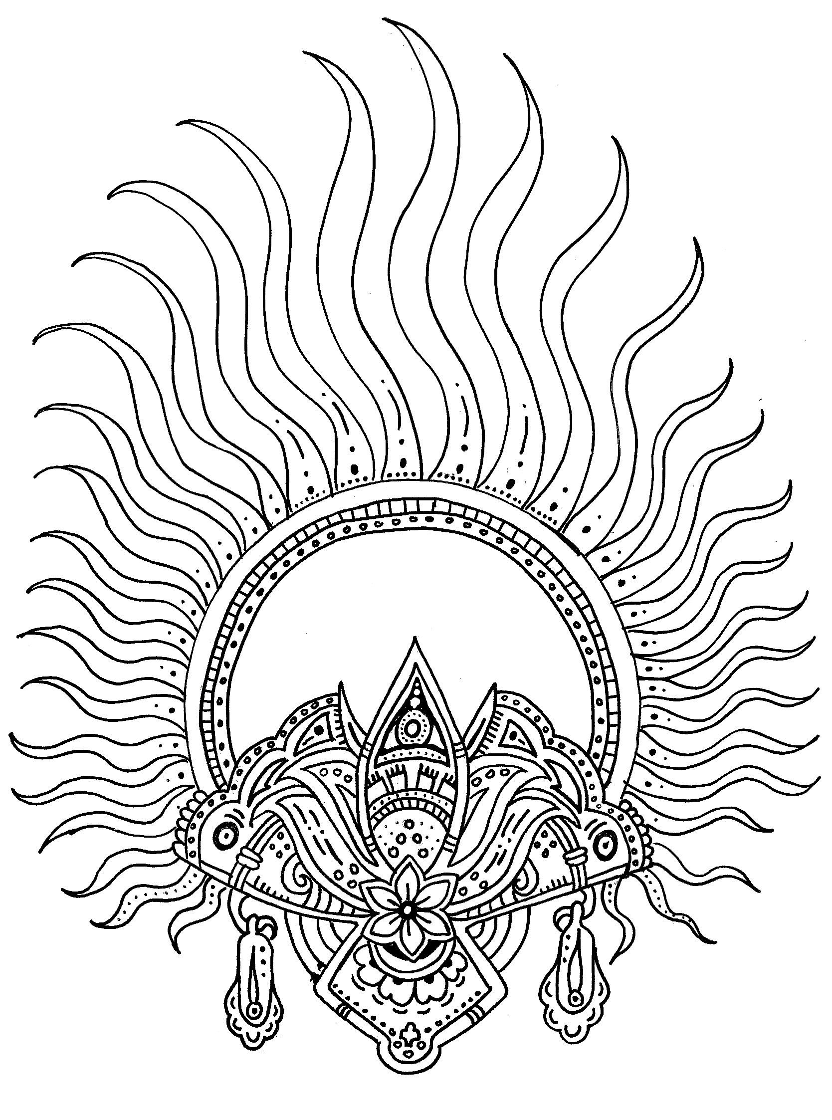 Amazing Sun Inspired Henna Tattoo Coloring Pages Sun