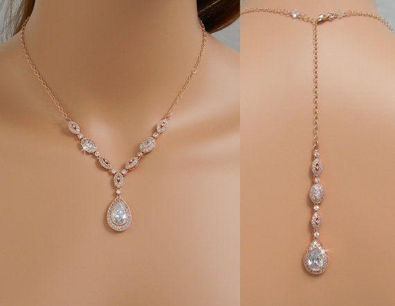 stunning rose gold earrings see more collar nupcial de teln de fondo estilo vintage por crystalavenues