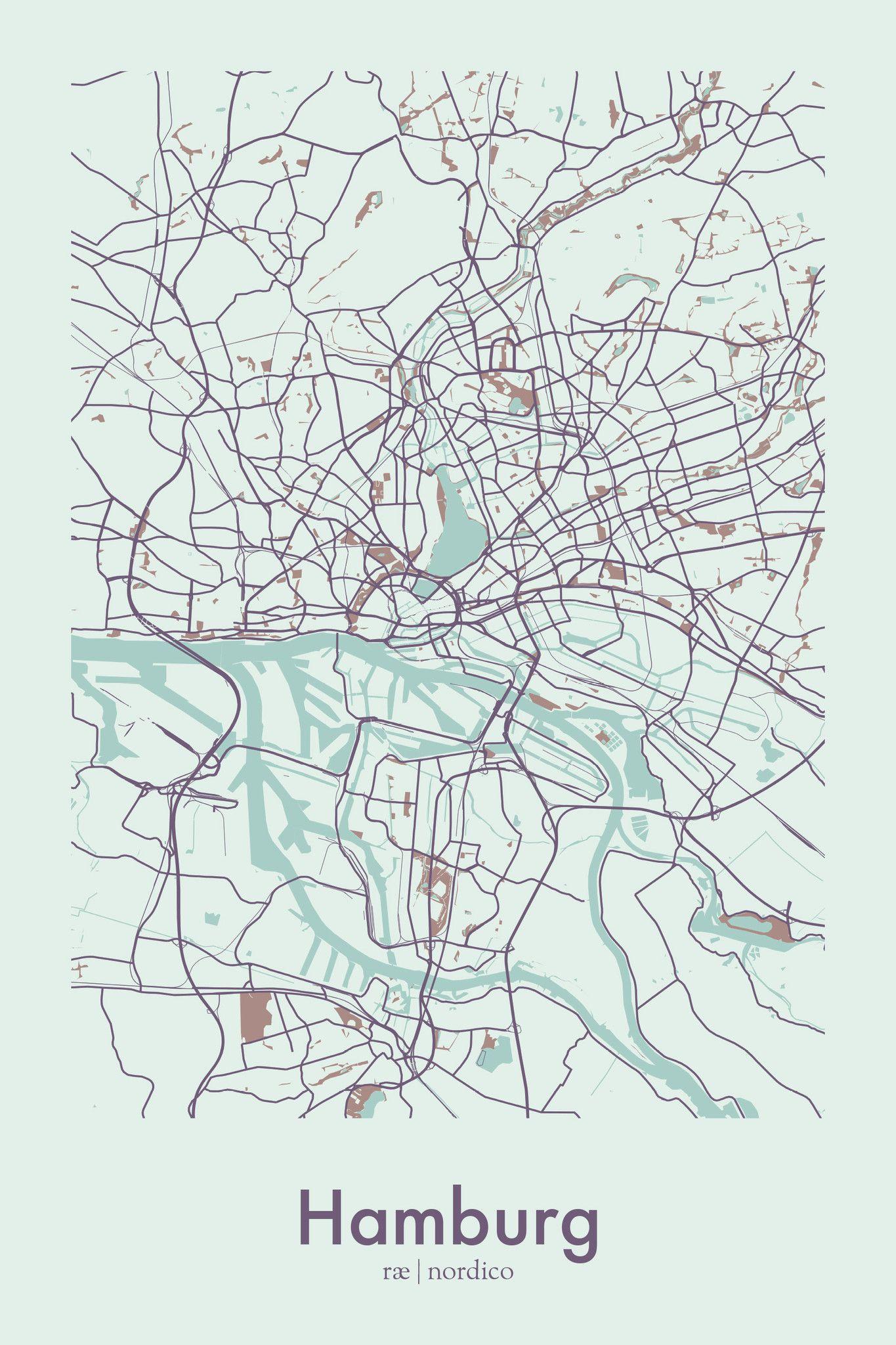 Hamburg Map Print Map Print Germany Map Illustrated Map