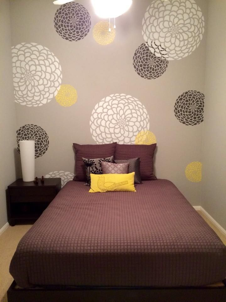 Pin By Cutting Edge Stencils On Flower Stencils Amp Decor Accent Wall Bedroom Room Partition