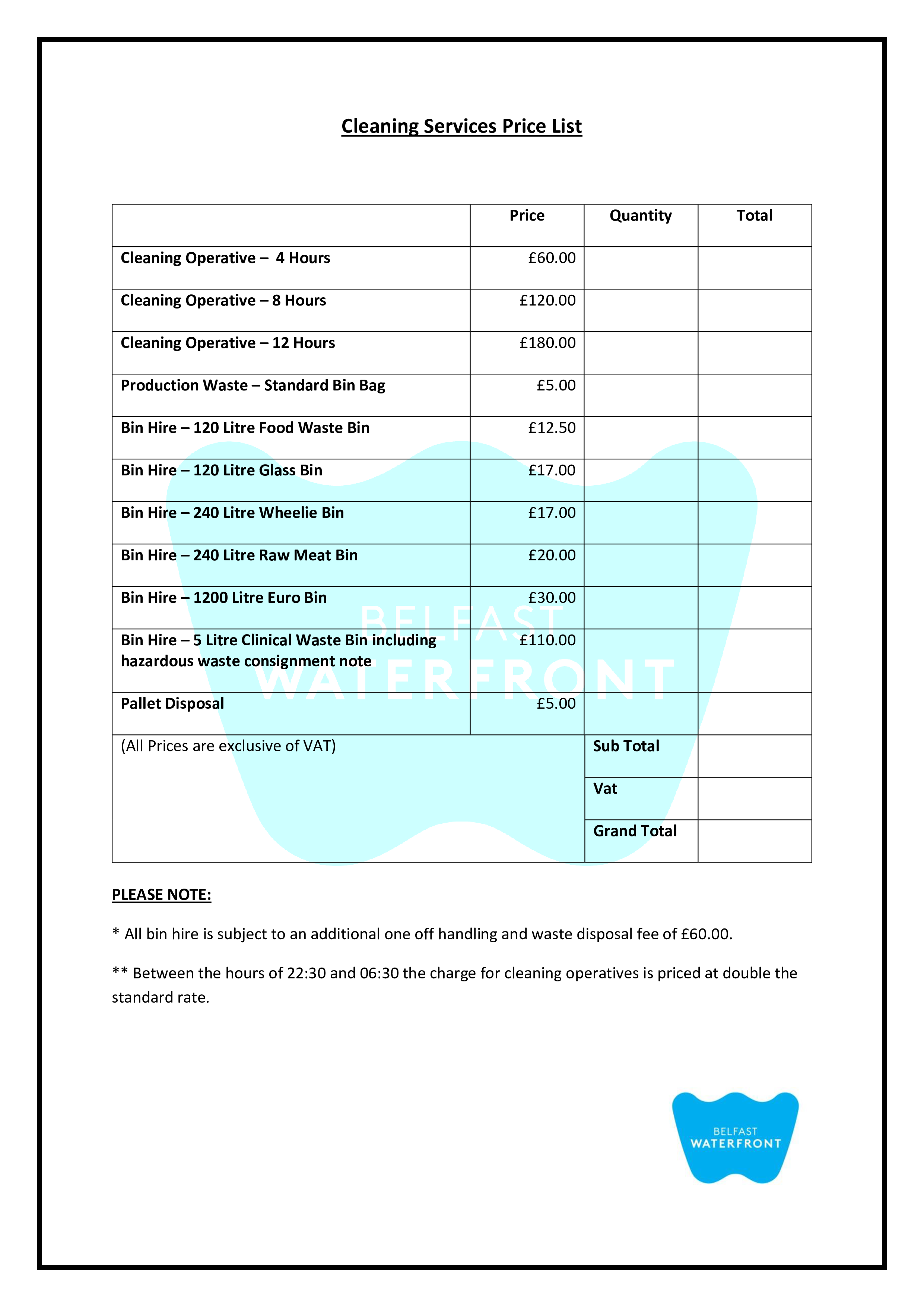 Cleaning Service Price List