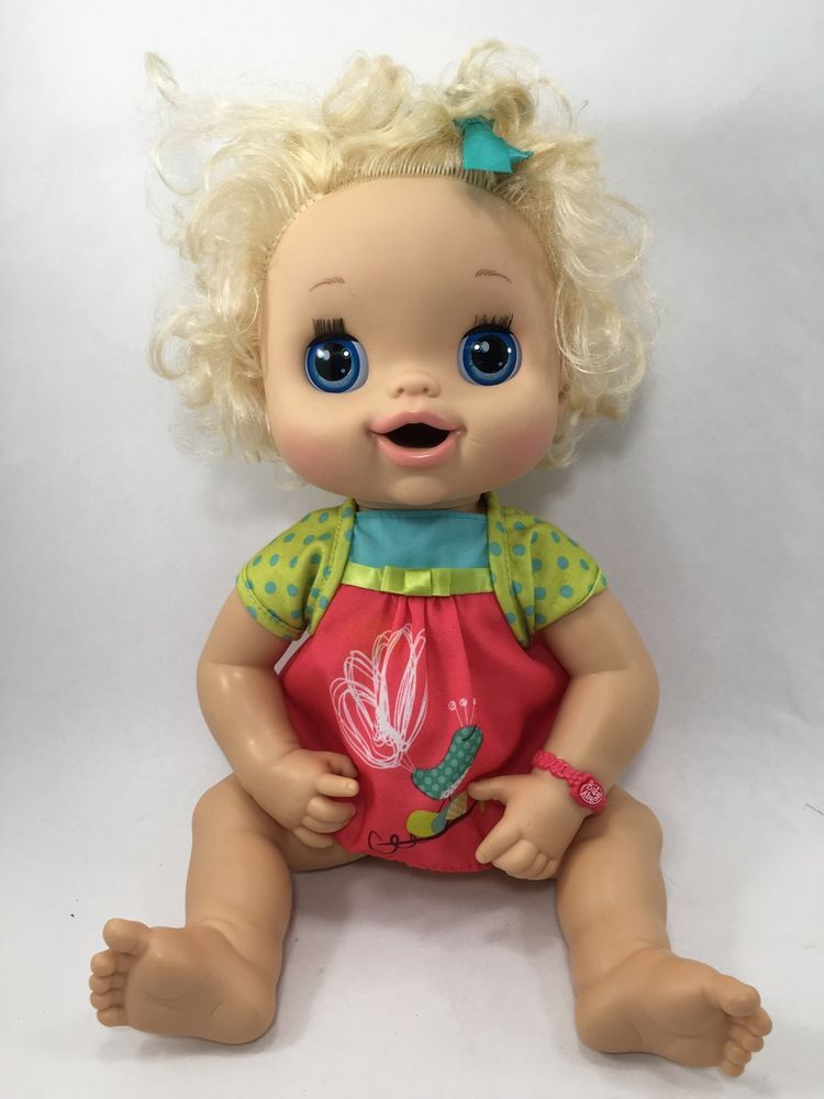 Baby Alive Doll Hasbro 2010 Blonde With Dress Talks Potty