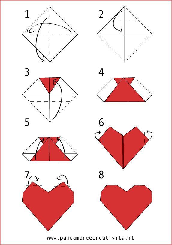 cuore origami facile facile valentino 14 febbraio. Black Bedroom Furniture Sets. Home Design Ideas