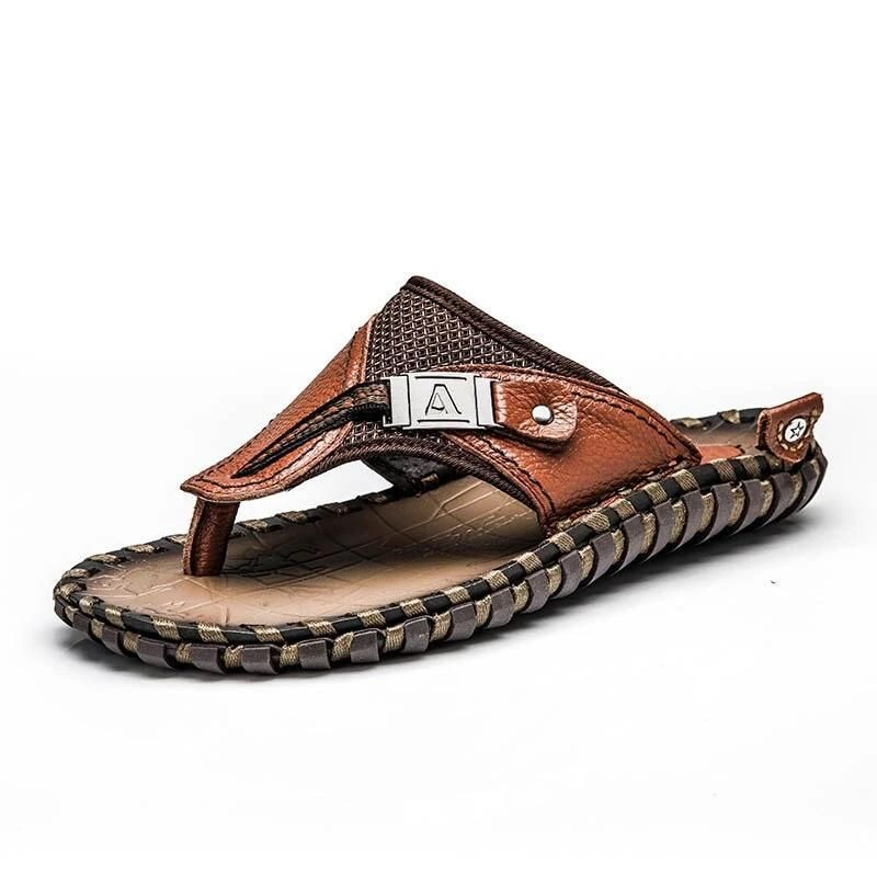 Men/'s All Leather Sandals Beach Brown  Flip Flops Slippers Flats plus size