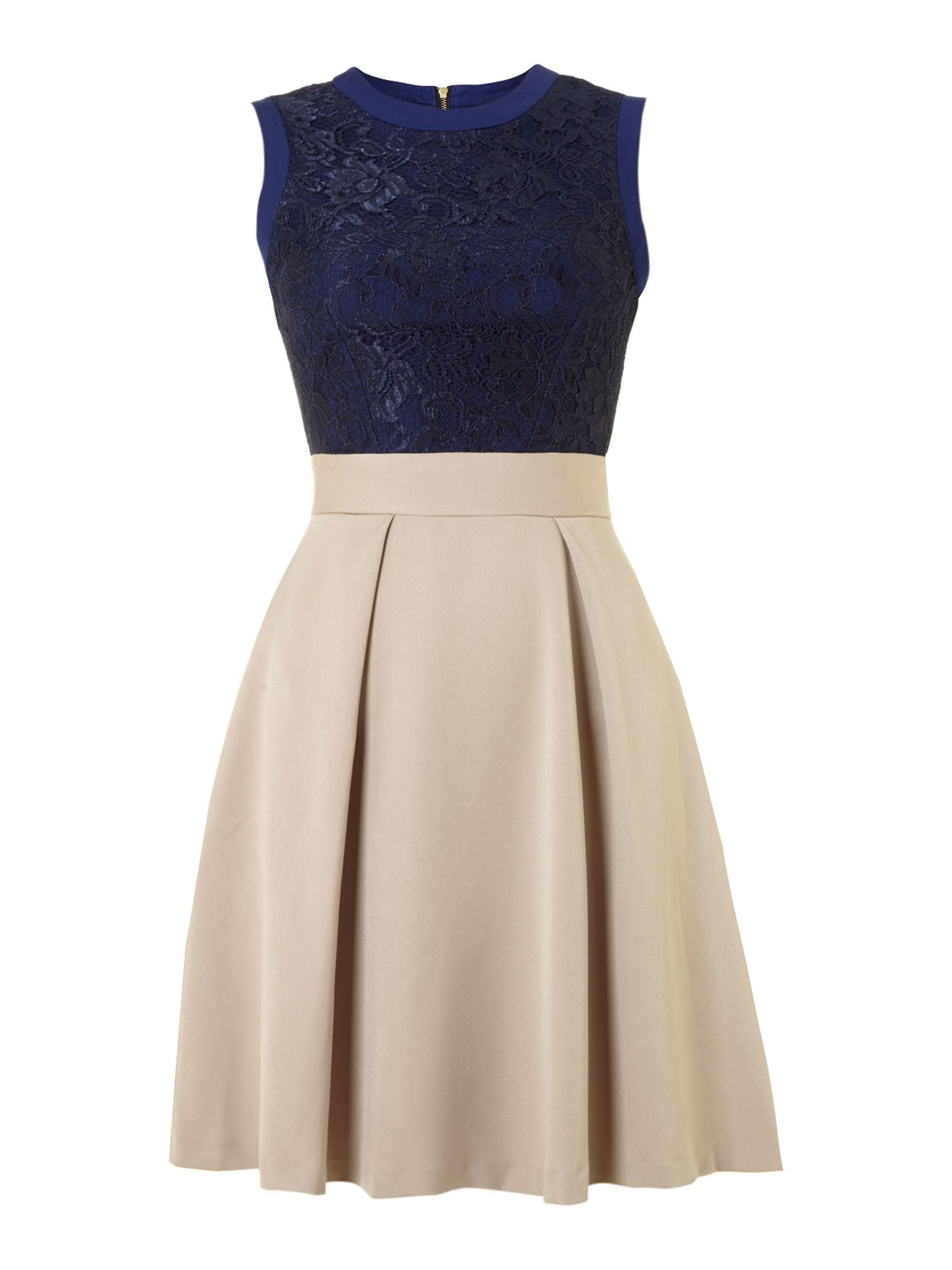 Yori lace side panel skater dress in navy