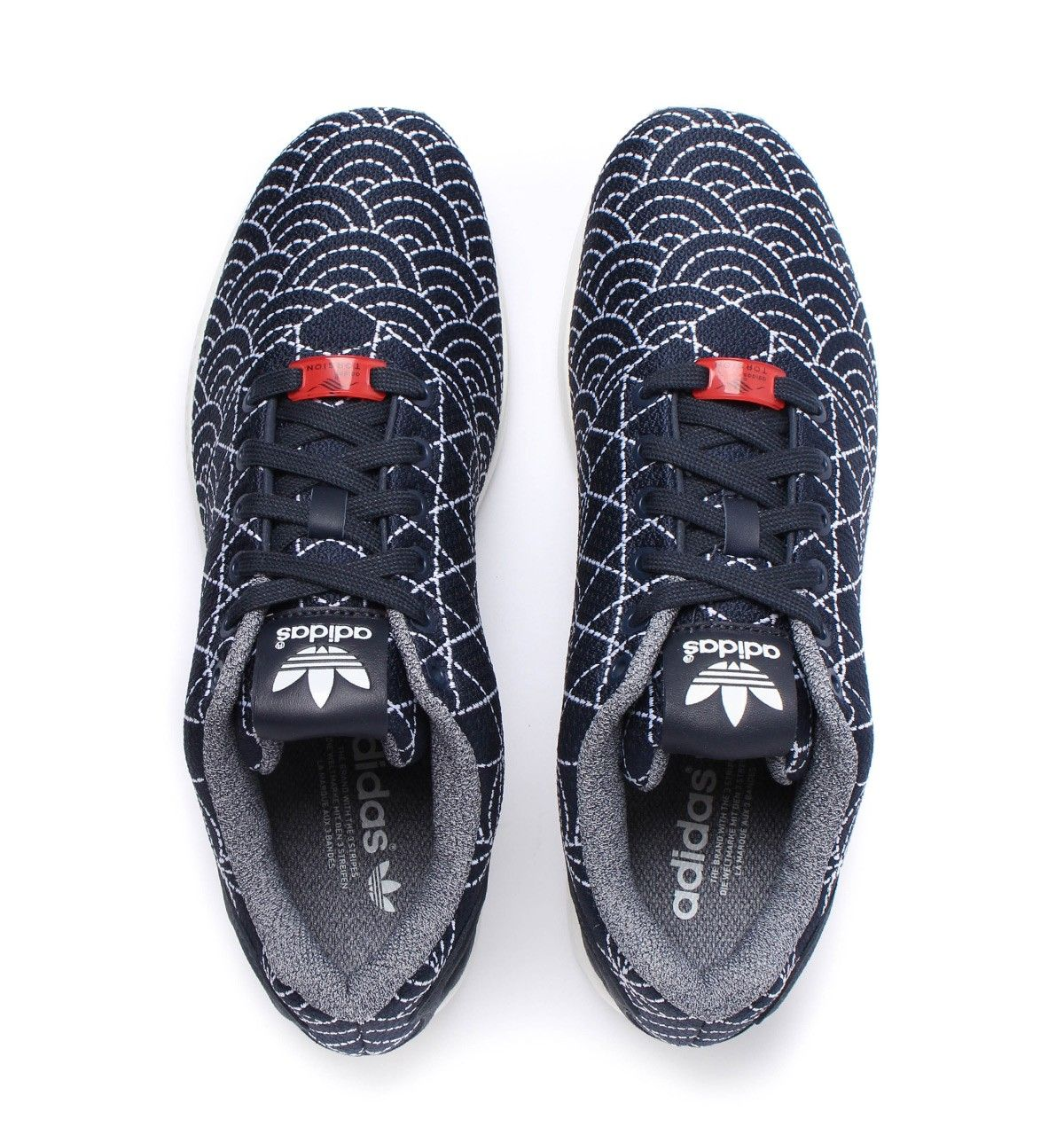 sports shoes 7bbc0 d34dc Adidas Originals ZX Flux Navy Patterned Knit Trainers ...