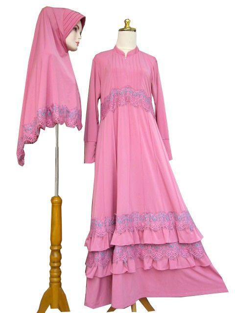 Gamis Set Syari Rimpel Renda Syr412101 Baju Gamis Terbaru Bahan