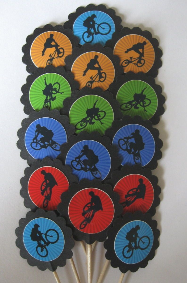 Bmx Cupcake Toppers/Party Picks (15Pc Set) Item #1333