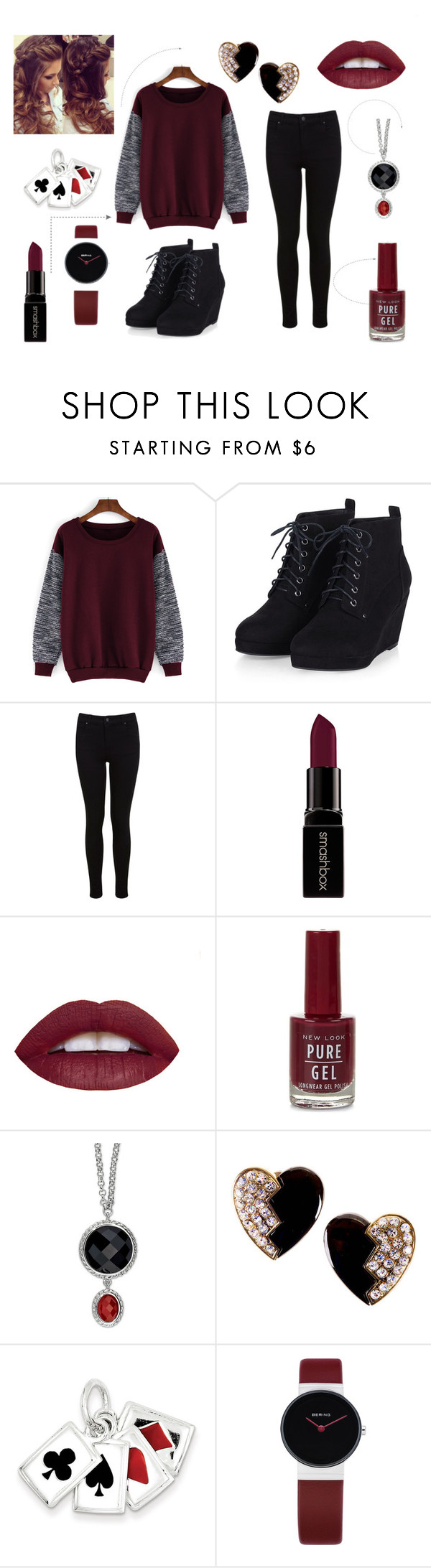 """""""RED"""" by ujvari-katinka on Polyvore featuring Miss Selfridge, Smashbox, Yves Saint Laurent, Kevin Jewelers, women's clothing, women, female, woman, misses and juniors"""