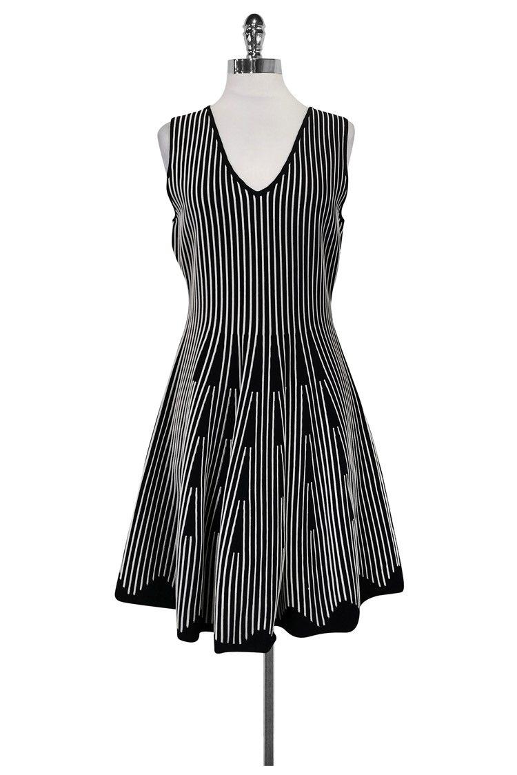 Milly black u white striped dress sz m red pumps black white
