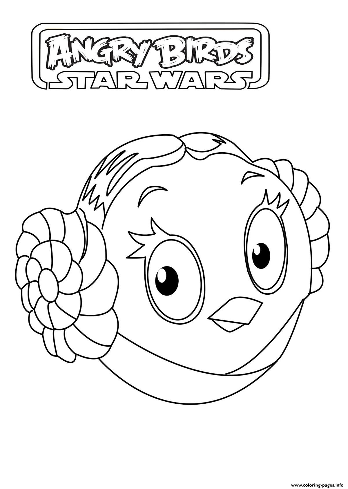 Print Kids Angry Birds Star Wars Leia Organa Coloring Pages