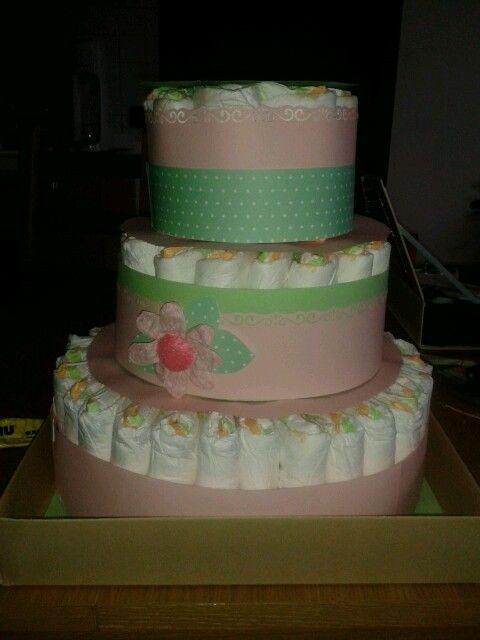 Torta di pannolini per bambina/ baby girl diaper cake