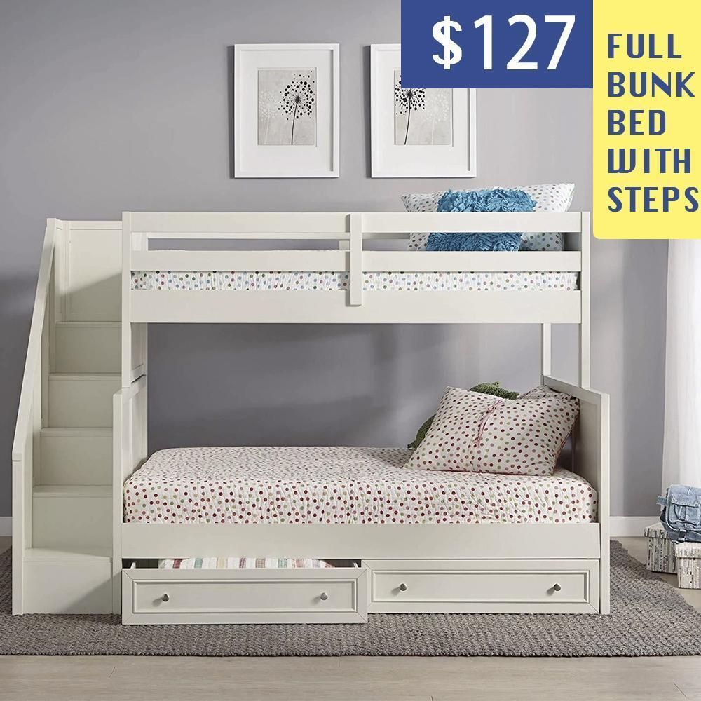 Full Bunk Bed With Steps New Year Discount In 2020 With Images