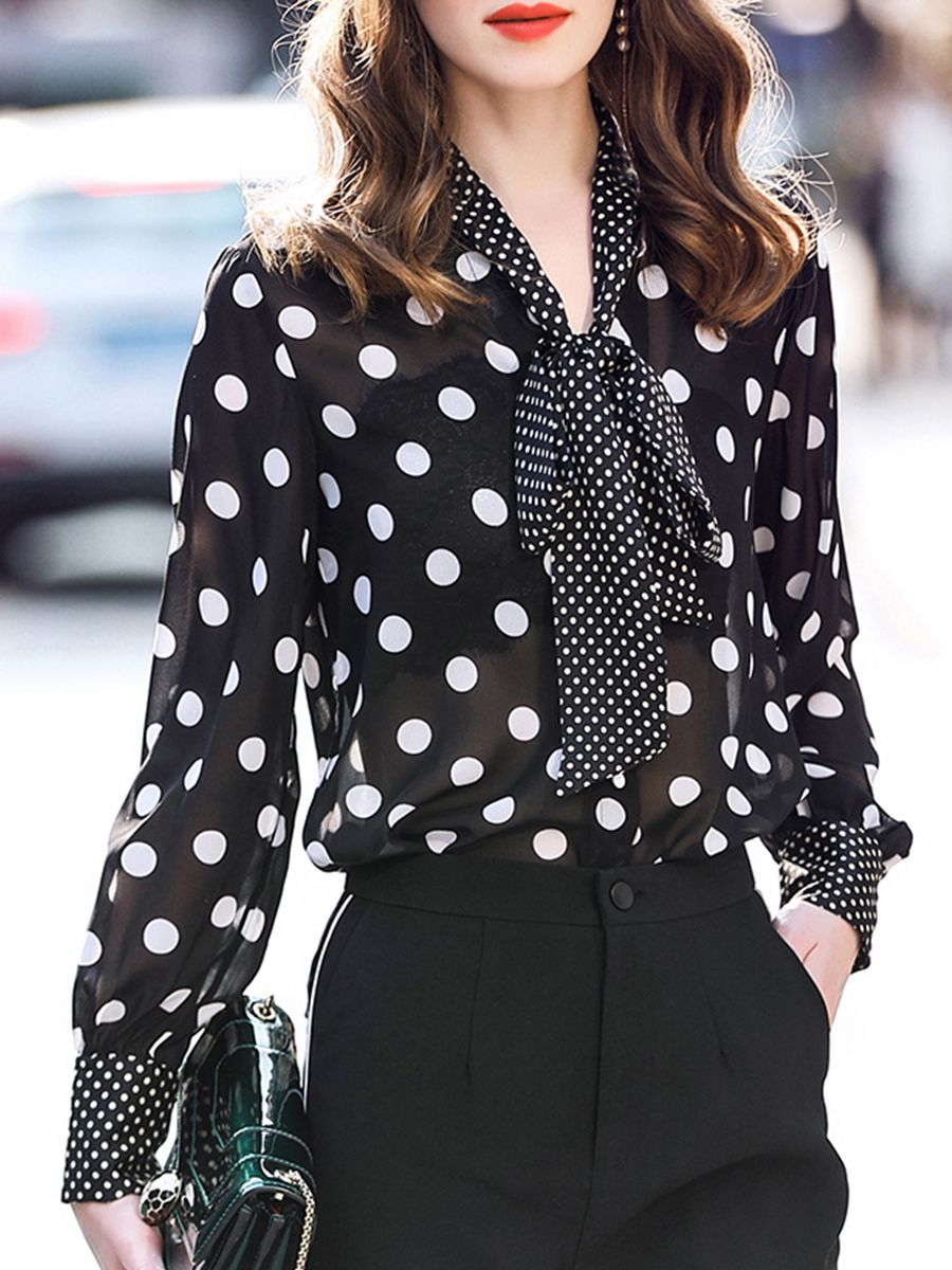 97535a5a862813 V Neck Loose Fitting Patchwork Dot #Blouse #fashionblouses #womensblouses