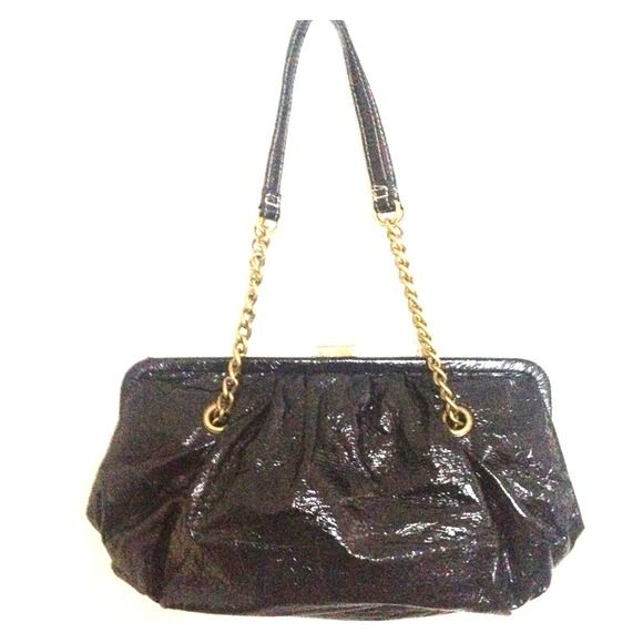 Black Patent Leather Purse Black patent leather purse with chain straps. Super cute! Brand new! Bags