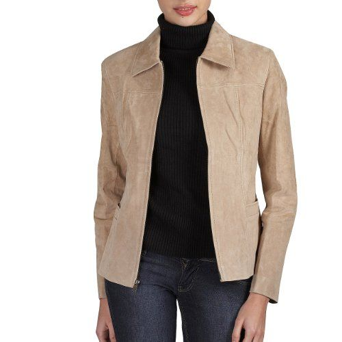 BGSD Women's Classic Suede Leather Zip-Front Jacket in Brandy, Coffee Bean, Caramel, or Red $269.99