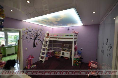Spanndecke Im Kinderzimmer Mit Wolkenmotiv Kinderzimmer Renovieren