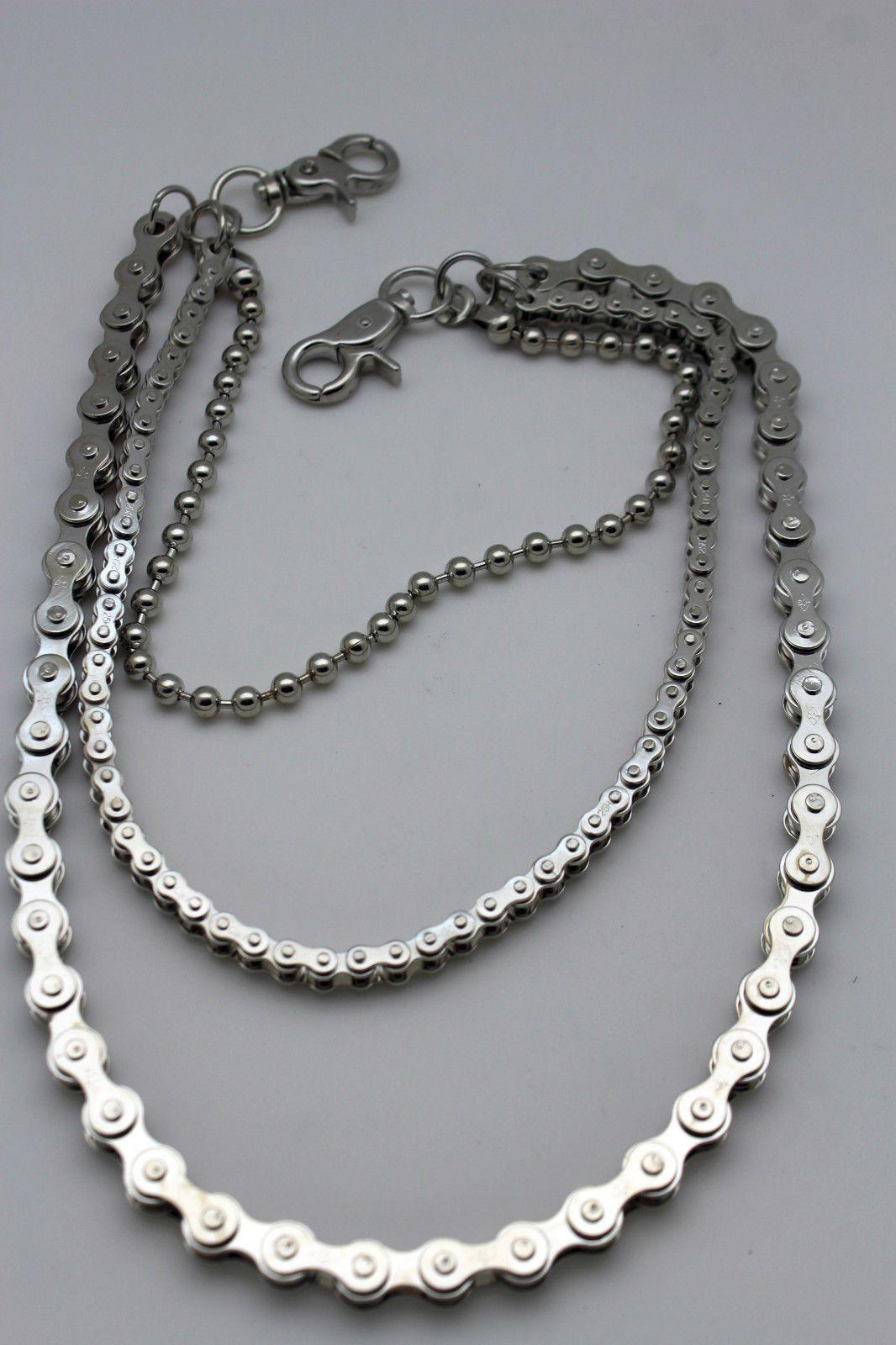Men Silver Metal Wallet Fashion Key Chain Motorcycle Chain Links Biker Rocker