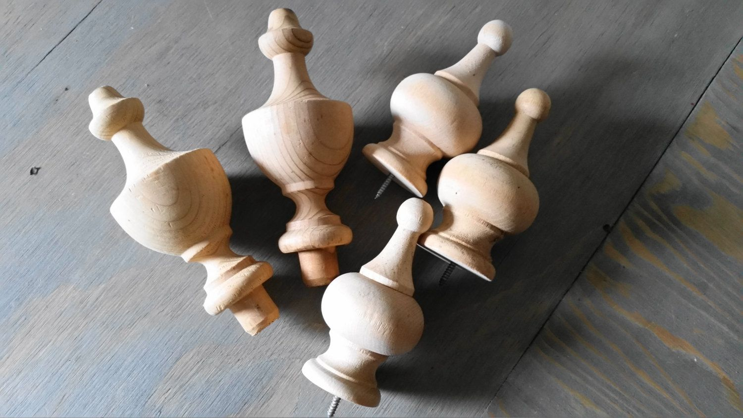 Vintage Turned Wooden Finials Unstained Natural Wood Newell Post