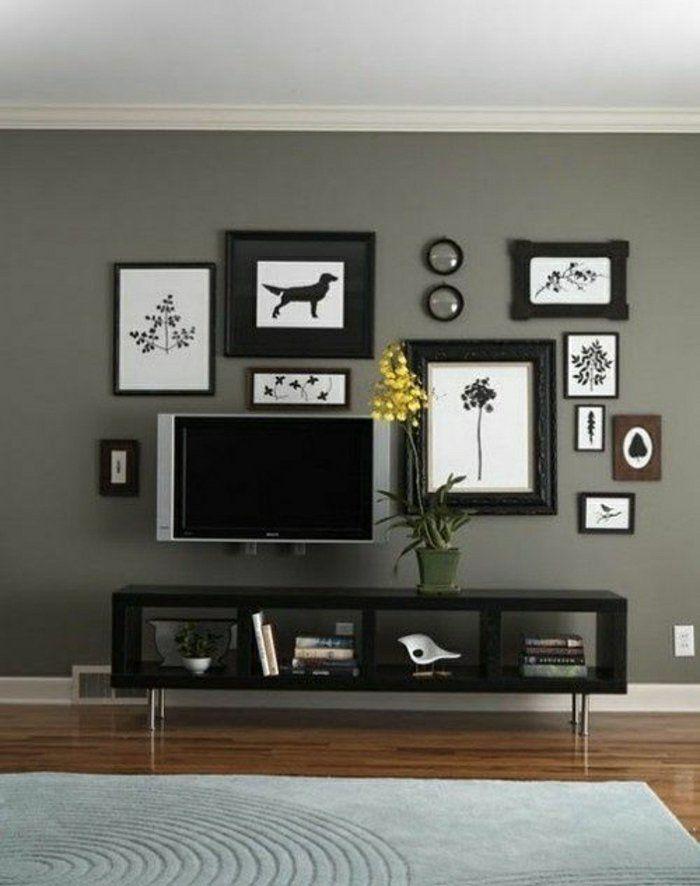 Décoration Murale Blanc Noir, Mur Gris, Plafond Blanc, Meuble Télé, Fleur
